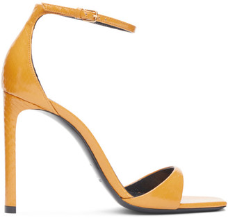Saint Laurent Yellow Snakeskin Bea 105 Heeled Sandals
