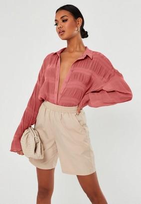 Missguided Blush Sheer Crinkle Extreme Oversized Shirt