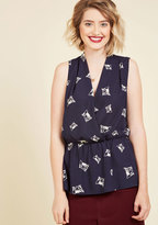 ModCloth Great Gal in the Corner Office Sleeveless Top in Cats in XS