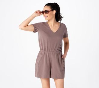 AnyBody Cozy Kind V-Neck Short Sleeve Romper