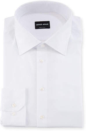 Giorgio Armani White-on-White Diamond Barrel-Cuff Dress Shirt