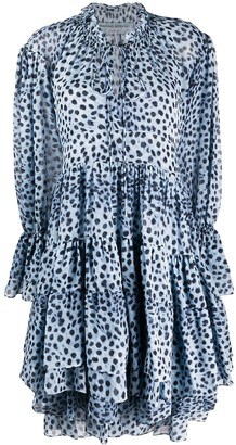 Ermanno Scervino Silk Ruffled Dot Print Dress