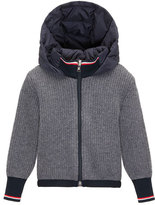 Moncler Ribbed Cardigan w/ Down Hood, Navy/Gray, Size 8-14