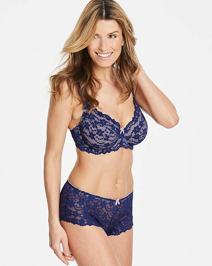 Pretty Secrets Daisy Lace Full Cup Wired Navy/Rose Bra
