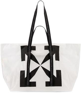 Off-White Arrow PVC Tote Bag in White & Black | FWRD