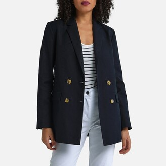 La Redoute Collections Cotton/Linen Double-Breasted Blazer
