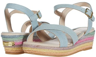 Nine West Lara (Little Kid/Big Kid) (Denim Rainbow Wedge) Girl's Shoes