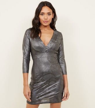 New Look Mela Metallic Bodycon Dress