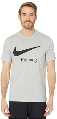 Nike Dry Run HBR (Dark Grey Heather/Black) Men's T Shirt
