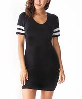 Black & White Stripe-Sleeve Bodycon Dress