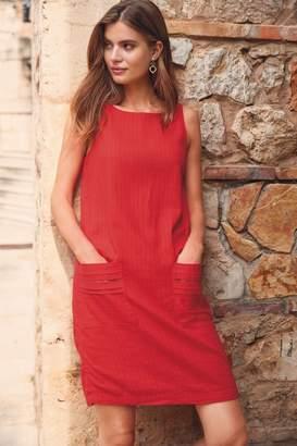 Next Womens Red Linen Blend Shift Dress - Red
