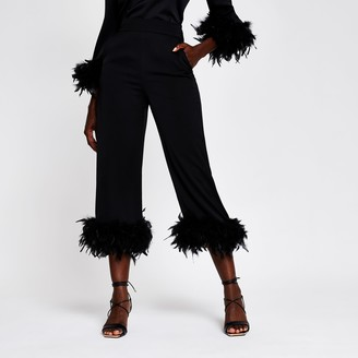 River Island Womens Black feather hem pyjama trousers