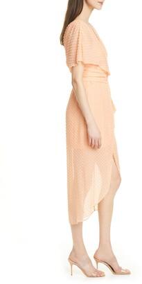 Alice + Olivia Clip Dot Faux Wrap Silk & Cotton Blend Dress