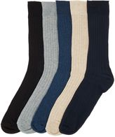 Howick Ribbed Socks, Pack Of 5, One Size