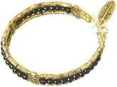 Apricot Gold & Black Beaded Feather Pendant Bracelet