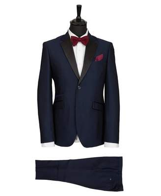 House Of Cavani Self Pattern Dinner Suit Colour: NAVY, Size: 38R
