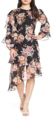 Cooper St Chateau Ruffle Sleeve Floral Midi Dress