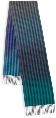 Paul Smith Sunset Edges Stripe Reversible Wool & Cashmere Scarf