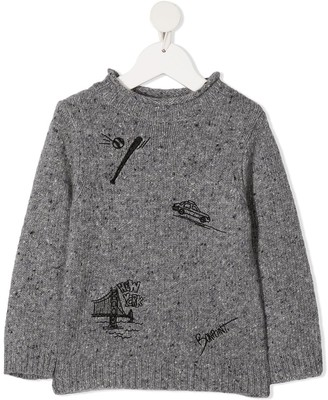 Bonpoint Graphic Embroidery Rib-Trimmed Jumper