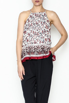 Moon River Printed Pleated Blouse