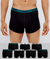 Asos Trunks With COLORED Branded Waistband In Black 7 Pack SAVE