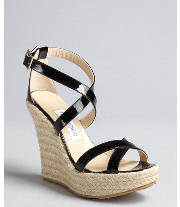Jimmy Choo black patent leather 'Porto' espadrille wedges