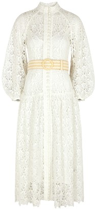 Zimmermann Empire white belted guipure lace midi dress
