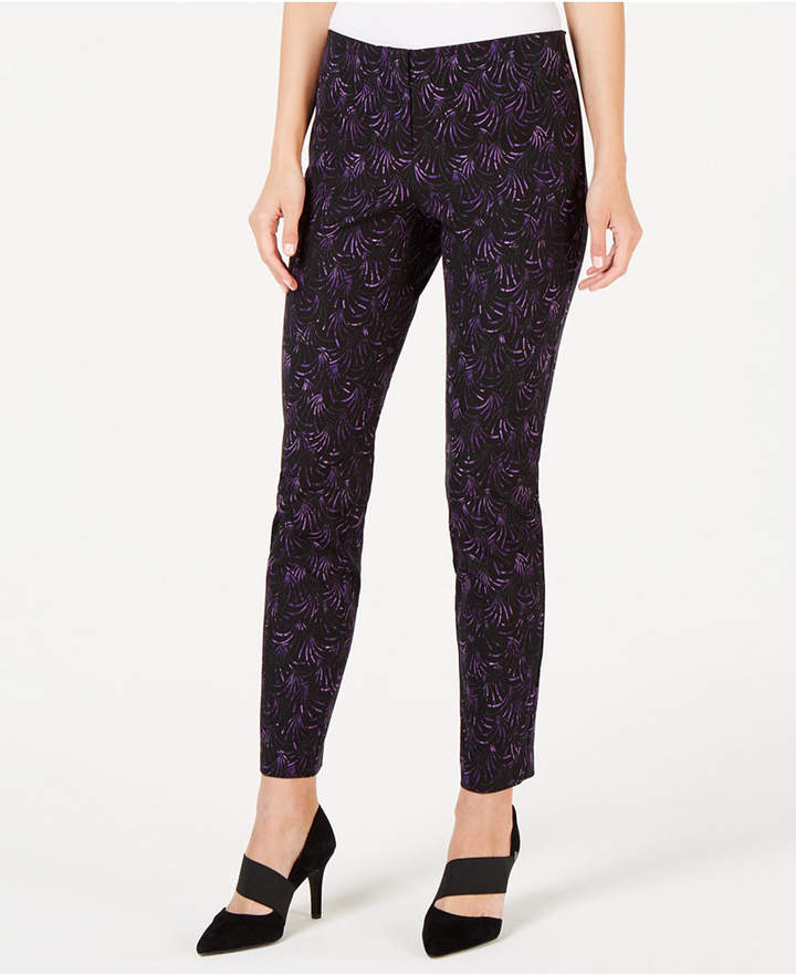 Petite Printed Hollywood-Waist Skinny Pants
