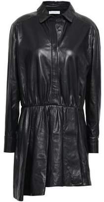IRO Aster Asymmetric Leather Mini Shirt Dress