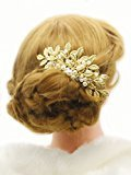 Missgrace Bridal Leaves Hair Comb Gold Flowers Rhinestone Crystals Wedding Hair Accessories Hair Comb Head Pieces Hair Clips Pins Jewelry