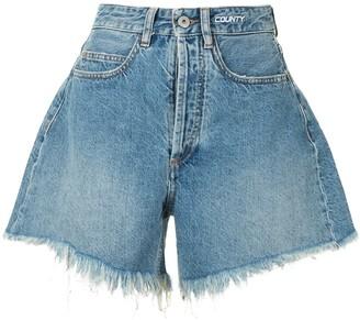 Marcelo Burlon County of Milan High Waist Denim Shorts