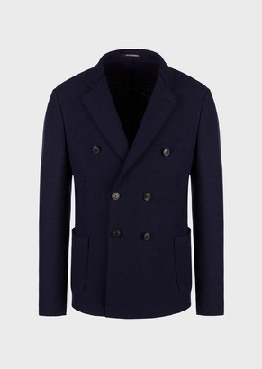 Emporio Armani Double-Breasted Jacket In Boiled Wool
