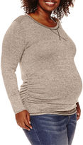 Asstd National Brand Planet Motherhood Maternity Long-Sleeve Hatchi Top - Plus