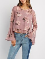 Charlotte Russe Floral Bell Sleeve Blouse
