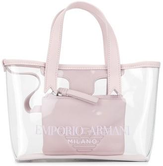 Emporio Armani Kids transparent logo tote bag
