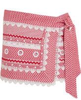 Dodo Bar Or - Embellished Lace-trimmed Cotton-jacquard Wrap Mini Skirt - Crimson