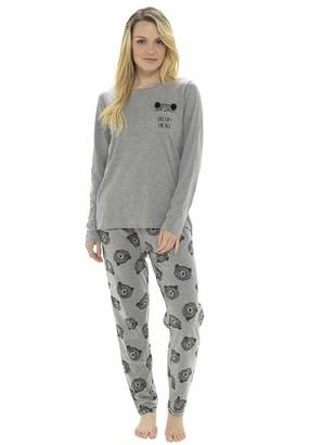 Fox Bury Ladies Sleepy Head Bear Design Pyjama Set (XL) Grey