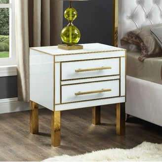 Everly Quinn Kenilworth 2 Drawer Nightstand Color: White/Yellow