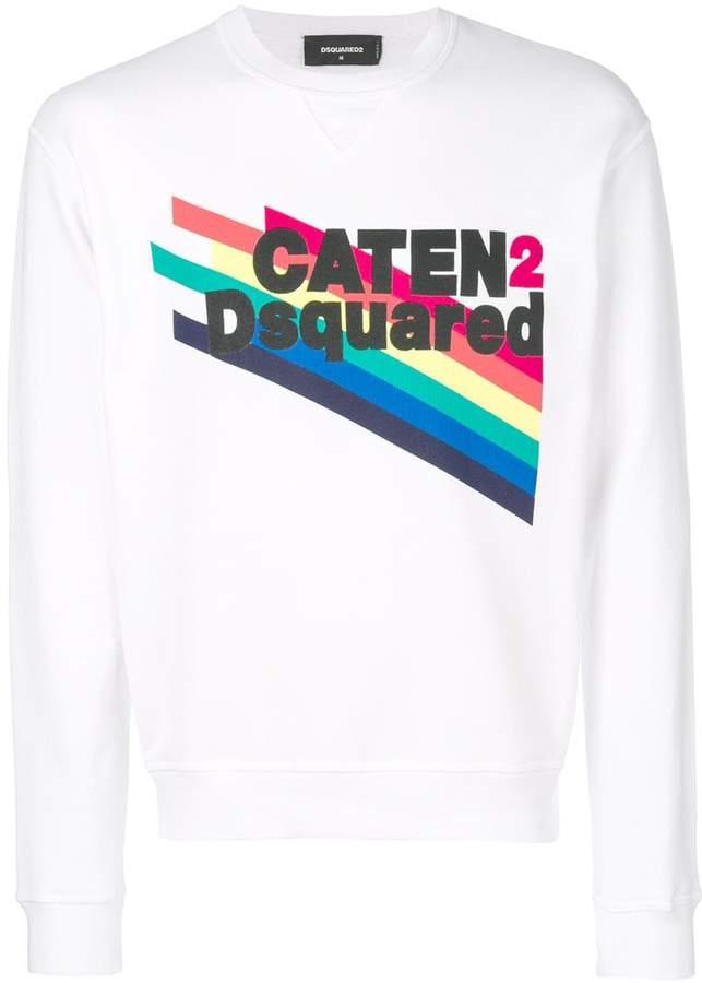 DSQUARED2 Dan fit rainbow-print sweatshirt
