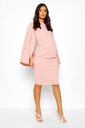 boohoo Maternity Slit Sleeve Midi Bodycon Dress