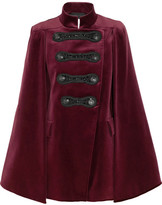 Pierre Balmain Embellished Cotton-blend Velvet Cape