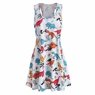 Beetlenew Womens Dress Women's Dress Print Dinosaur Sleeveless Round Neck Off Shoulder Pleated Flowy Casual Swing Tank Mini Dress (Size:L