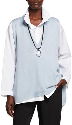 eskandar Sleeveless A-Line V-Neck Top with Longer Back