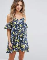 boohoo Floral Print Cold Shoulder Mini Dress