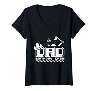 Womens Dad Birthday Crew Construction Worker Theme Party Mens V-Neck T-Shirt