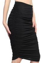 TheMogan Women's Ruched Jersey Knee Length Pencil Skirt Black-S