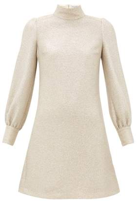 Bella Freud Valley Of The Dolls Balloon Sleeve Mini Dress - Womens - Light Gold