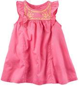 Carter's Embroidered Flutter-Sleeve Dress