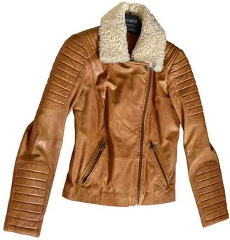 Ikks Beige Leather Jacket for Women