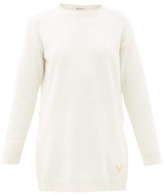 Valentino V-logo Plaque Cashmere Sweater - Womens - Ivory